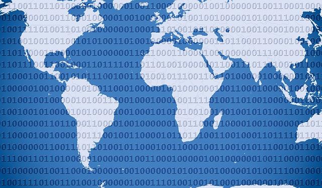 svět pokrytý digitálním kódem